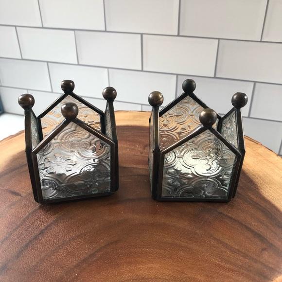 Pottery Barn leaded glass tea light holders set